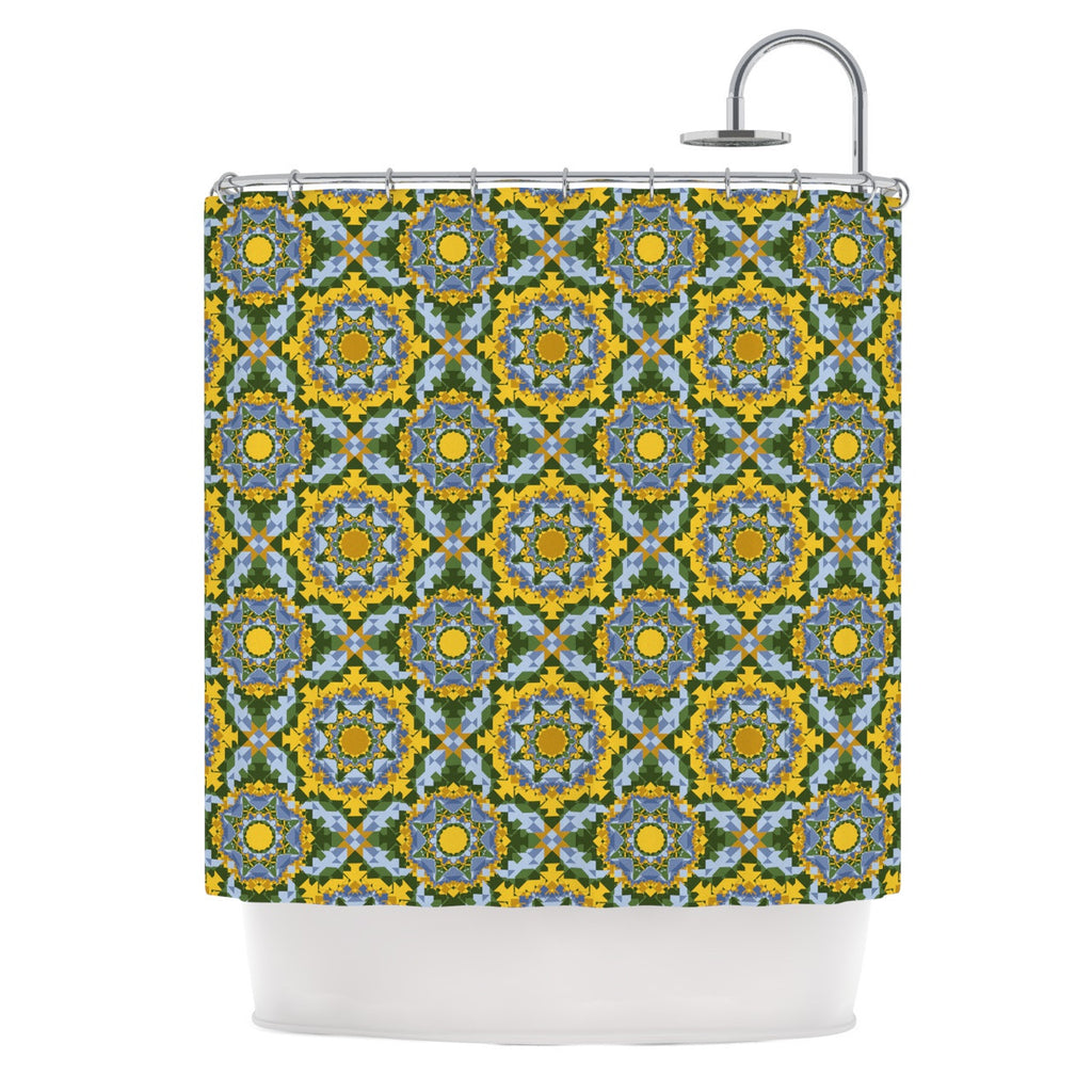 "Alison Soupcoff ""Sunflower"" Blue Yellow Shower Curtain - KESS InHouse"