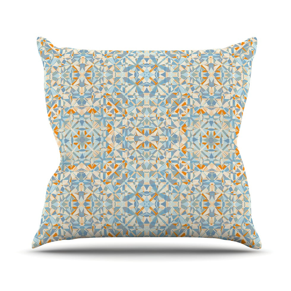 "Allison Soupcoff ""Coastal"" Orange Blue Throw Pillow - KESS InHouse  - 1"