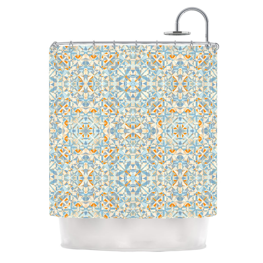 "Allison Soupcoff ""Coastal"" Orange Blue Shower Curtain - KESS InHouse"