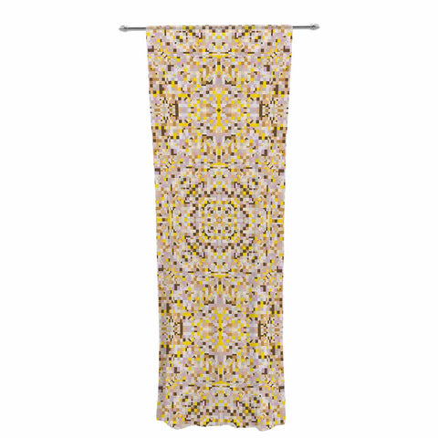 "Allison Soupcoff ""Hint"" Yellow Beige Digital Decorative Sheer Curtain"