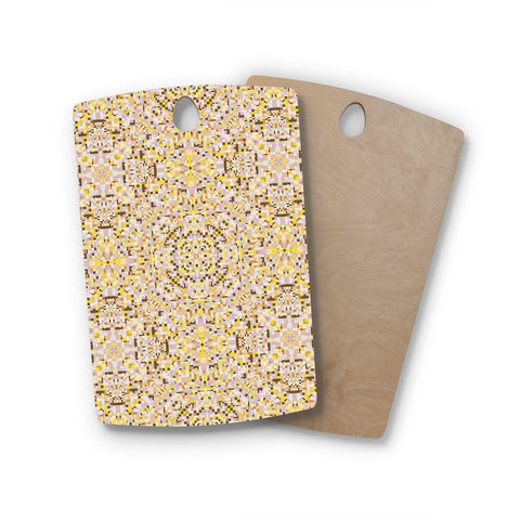 "Allison Soupcoff ""Hint"" Yellow Beige Rectangle Wooden Cutting Board"