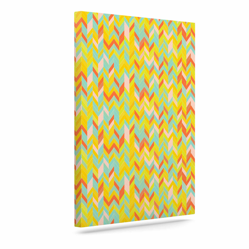 "Allison Soupcoff ""Chevron Pop "" Yellow Pattern Canvas Art - KESS InHouse  - 1"
