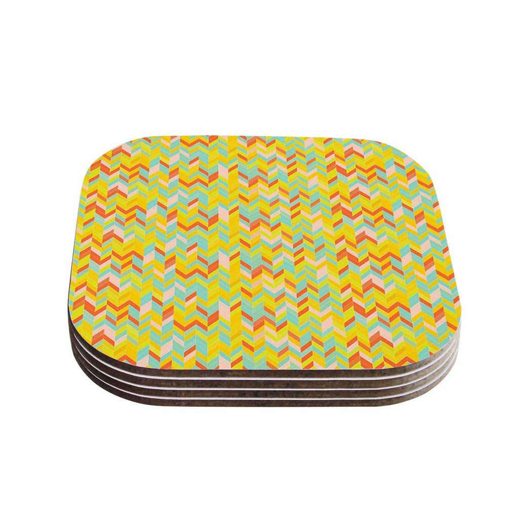 "Allison Soupcoff ""Chevron Pop "" Yellow Pattern Coasters (Set of 4)"