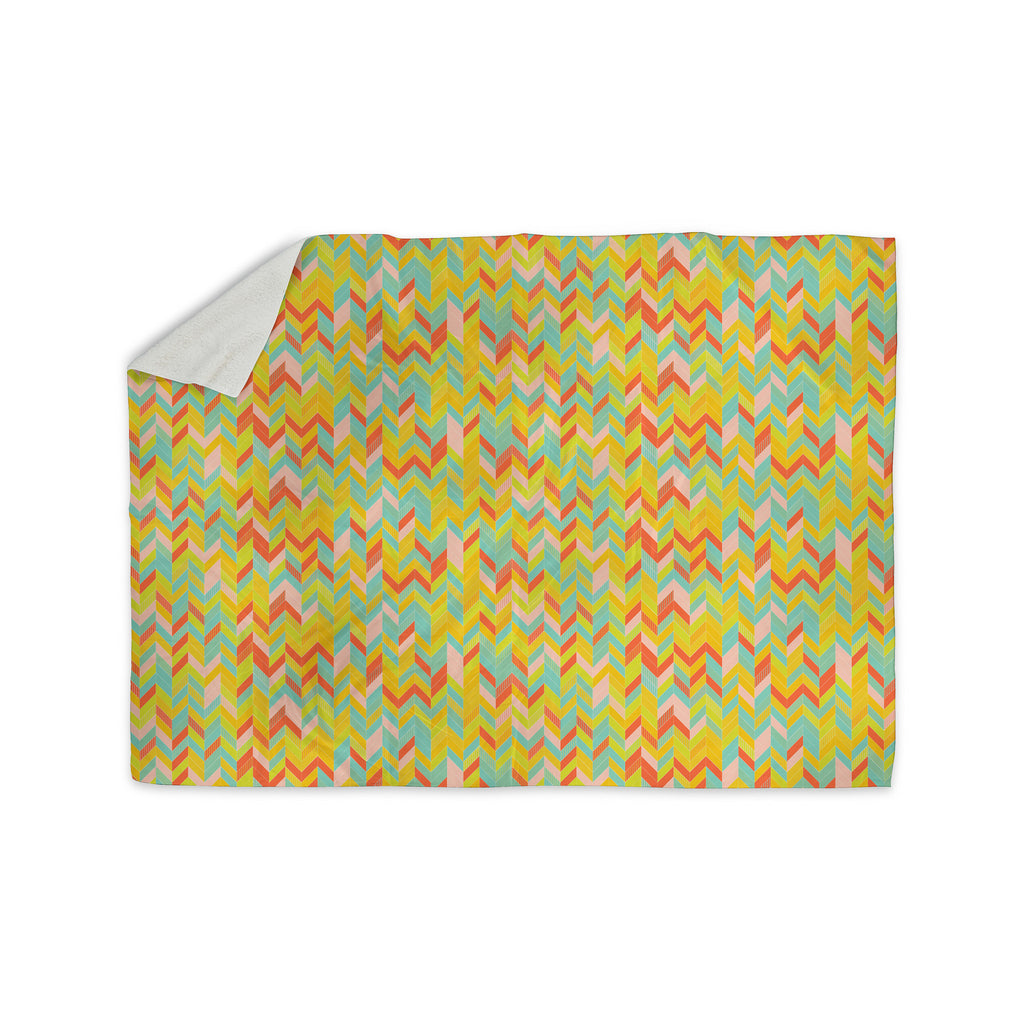 "Allison Soupcoff ""Chevron Pop "" Yellow Pattern Sherpa Blanket - KESS InHouse  - 1"