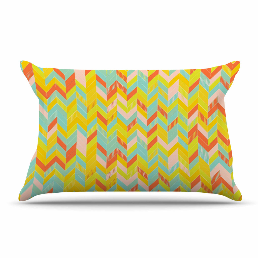 "Allison Soupcoff ""Chevron Pop "" Yellow Pattern Pillow Sham - KESS InHouse  - 1"