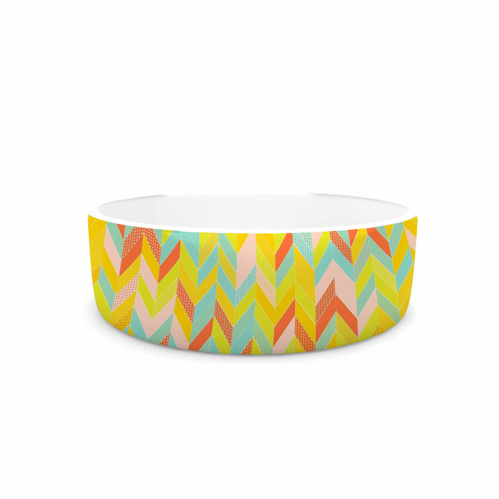 "Allison Soupcoff ""Chevron Pop "" Yellow Pattern Pet Bowl - KESS InHouse"