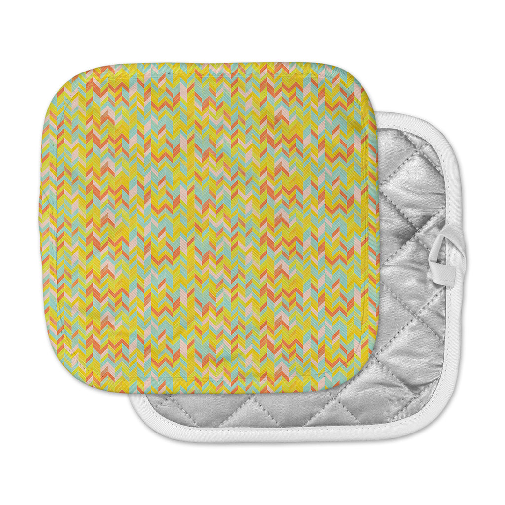 "Allison Soupcoff ""Chevron Pop "" Yellow Pattern Pot Holder"