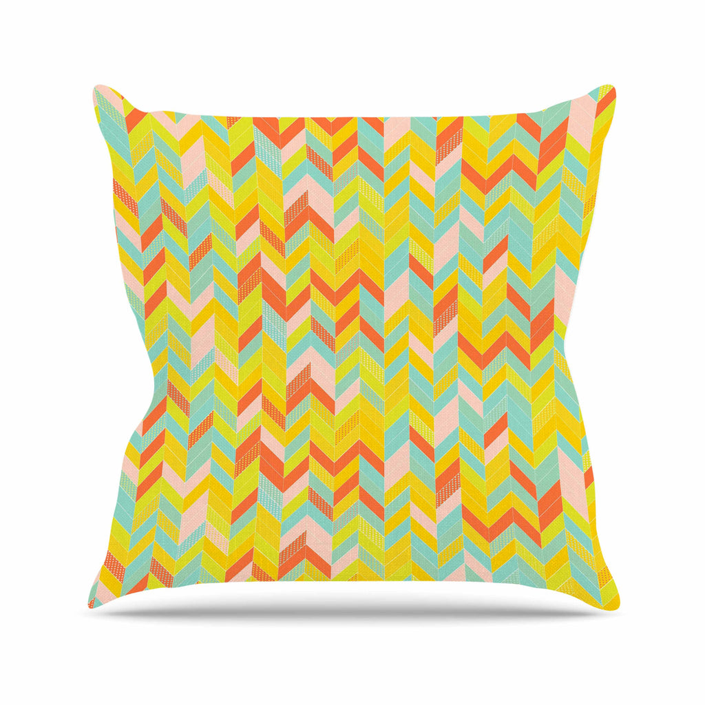 "Allison Soupcoff ""Chevron Pop "" Yellow Pattern Outdoor Throw Pillow - KESS InHouse  - 1"