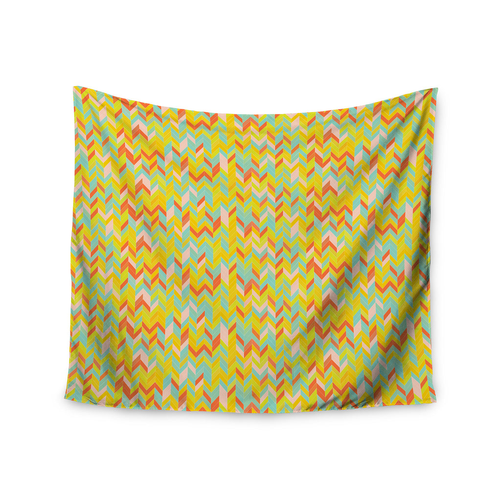 "Allison Soupcoff ""Chevron Pop "" Yellow Pattern Wall Tapestry - KESS InHouse  - 1"