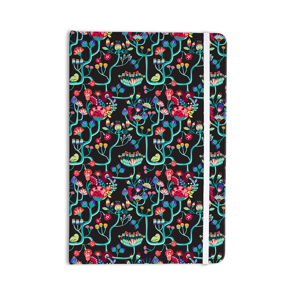 "Agnes Schugardt ""Antique Folk"" Rainbow Black Everything Notebook - KESS InHouse  - 1"