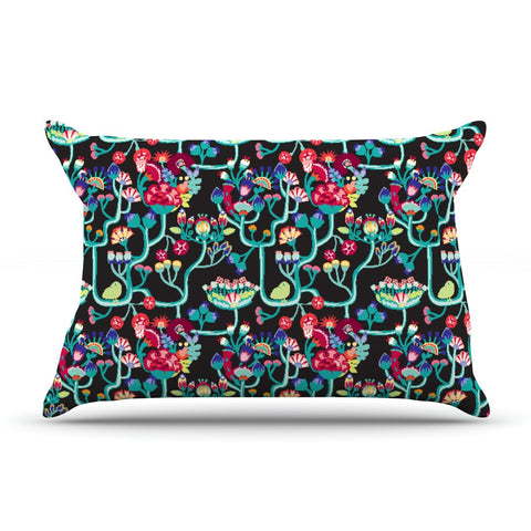 "Agnes Schugardt ""Antique Folk"" Rainbow Black Pillow Sham - KESS InHouse  - 1"