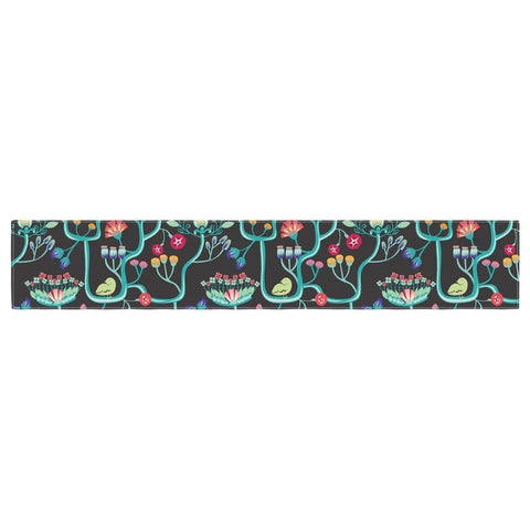 "Agnes Schugardt ""Antique Folk"" Rainbow Black Table Runner - KESS InHouse  - 1"