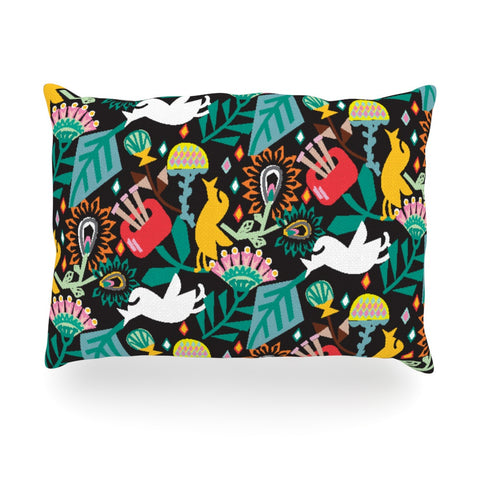 "Agnes Schugardt ""Folk Fusion"" Rainbow Abstract Oblong Pillow - KESS InHouse"