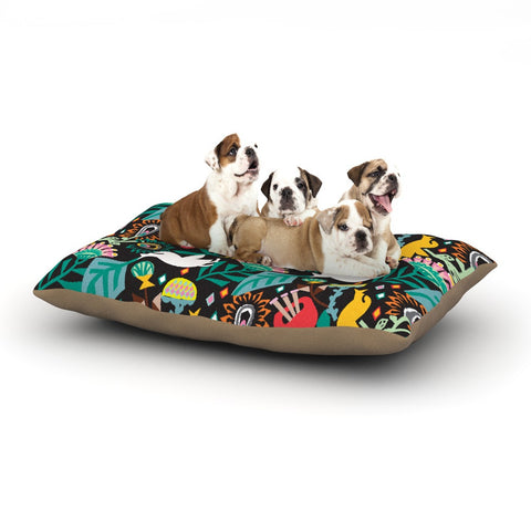 "Agnes Schugardt ""Folk Fusion"" Rainbow Abstract Dog Bed - KESS InHouse  - 1"