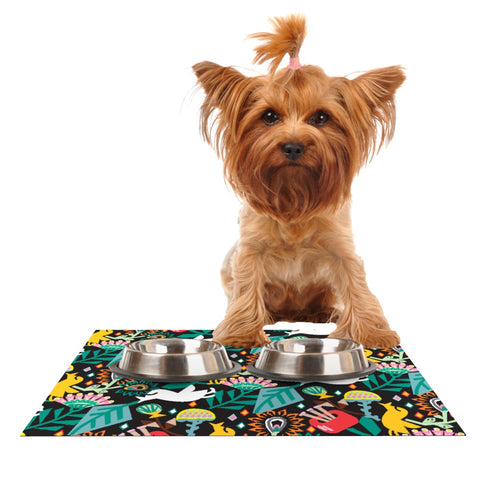 "Agnes Schugardt ""Folk Fusion"" Rainbow Abstract Dog Place Mat - Outlet Item"
