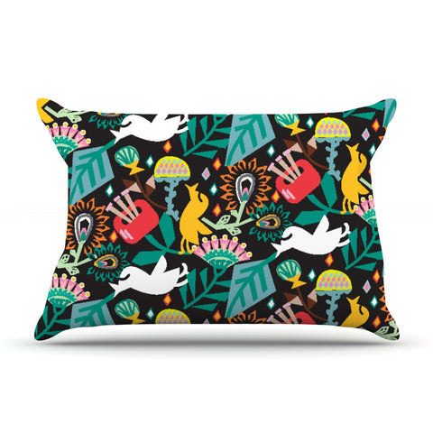 "Agnes Schugardt ""Folk Fusion"" Rainbow Abstract Pillow Sham - KESS InHouse  - 1"