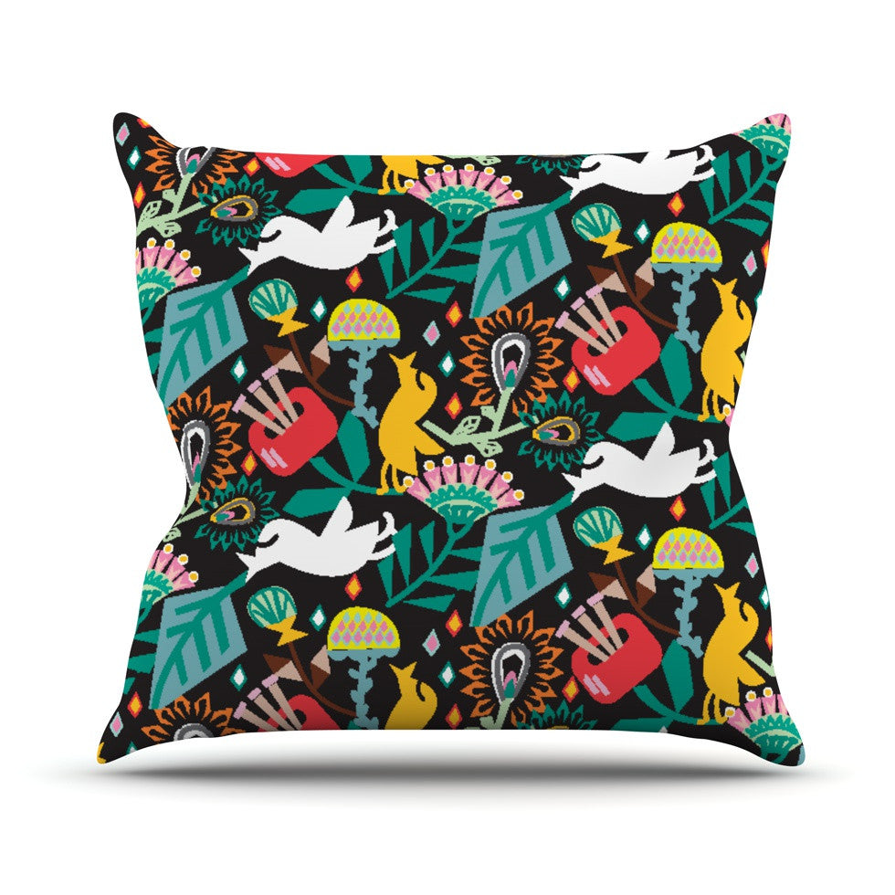 "Agnes Schugardt ""Folk Fusion"" Rainbow Abstract Outdoor Throw Pillow - KESS InHouse  - 1"