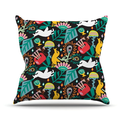 "Agnes Schugardt ""Folk Fusion"" Rainbow Abstract Throw Pillow - KESS InHouse  - 1"