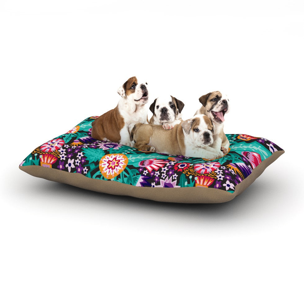 "Agnes Schugardt ""Folk Meadow"" Purple Teal Dog Bed - KESS InHouse  - 1"