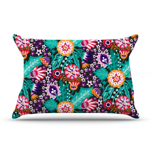 "Agnes Schugardt ""Folk Meadow"" Purple Teal Pillow Sham - KESS InHouse  - 1"