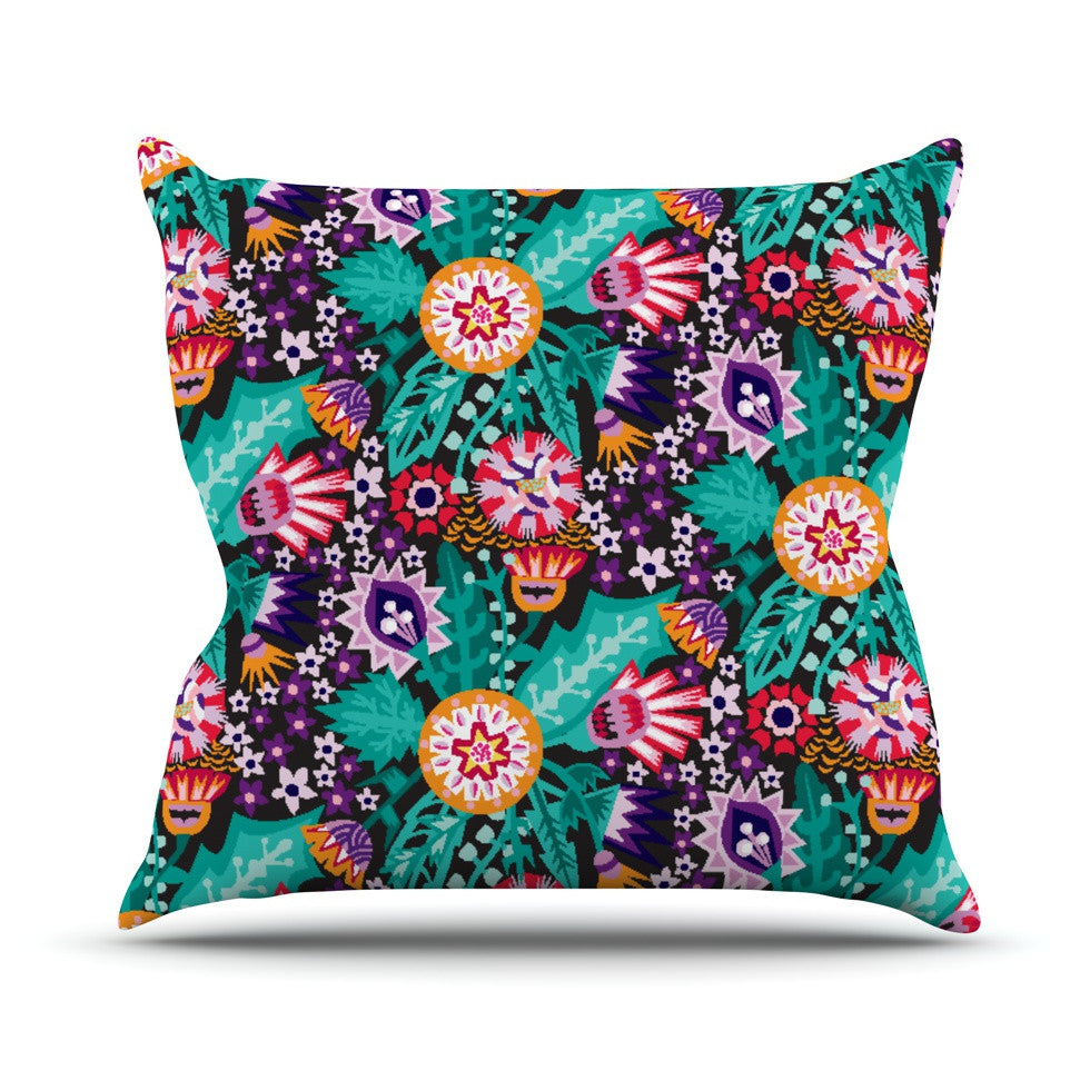 "Agnes Schugardt ""Folk Meadow"" Purple Teal Outdoor Throw Pillow - KESS InHouse  - 1"