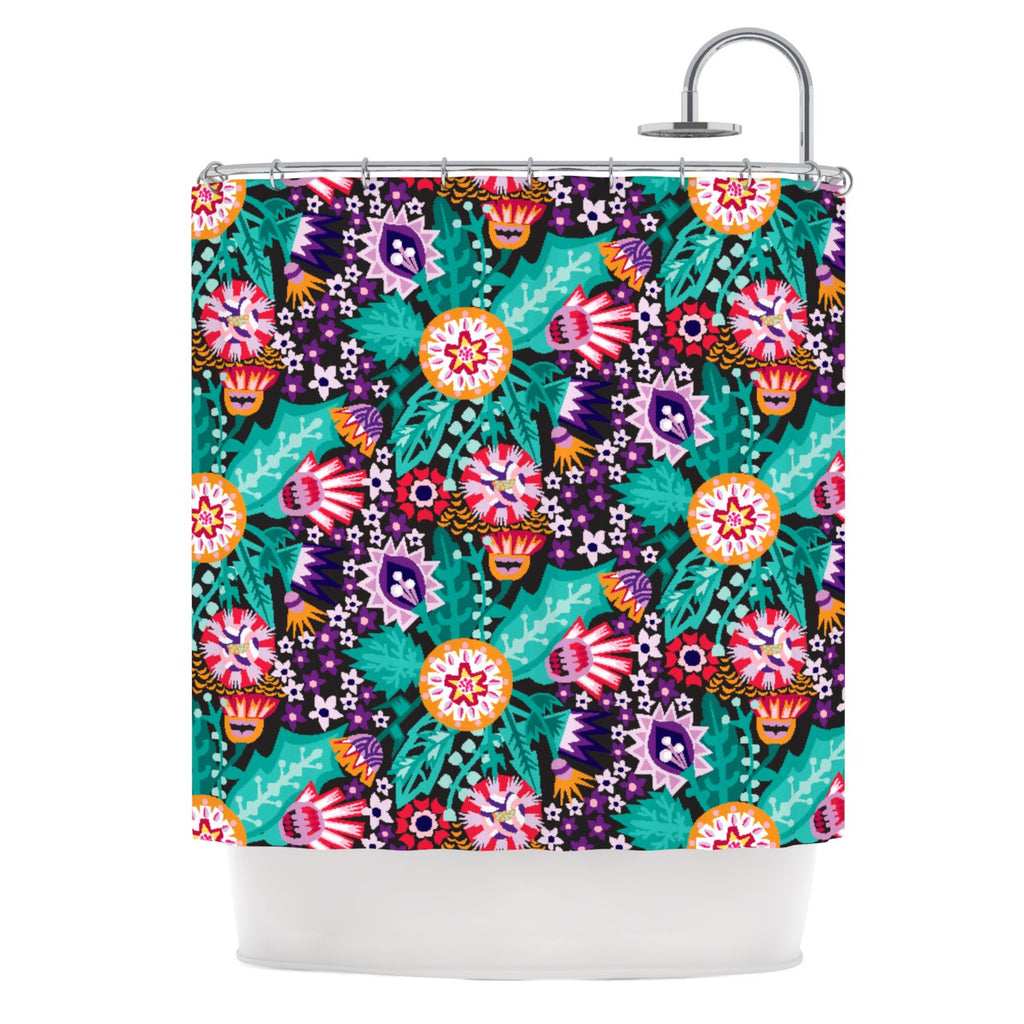 "Agnes Schugardt ""Folk Meadow"" Purple Teal Shower Curtain - KESS InHouse"