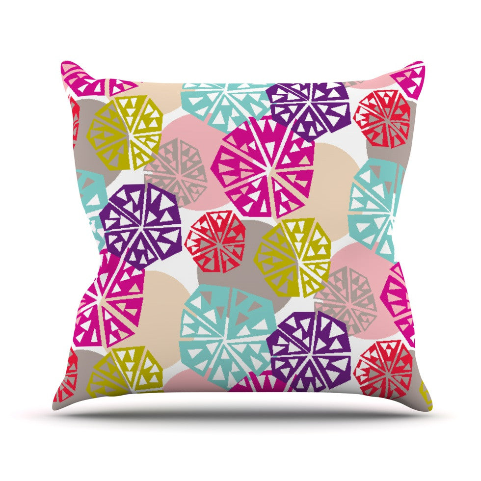 "Agnes Schugardt ""Pie In The Sky"" Rainbow Abstract Throw Pillow - KESS InHouse  - 1"