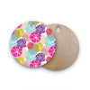 "Agnes Schugardt ""Pie In The Sky"" Rainbow Abstract Round Wooden Cutting Board"