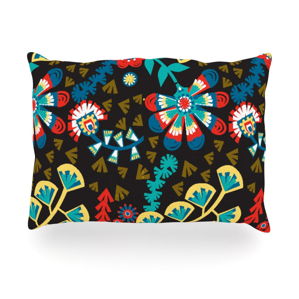 "Agnes Schugardt ""Wycinanka"" Black Abstract Oblong Pillow - KESS InHouse"