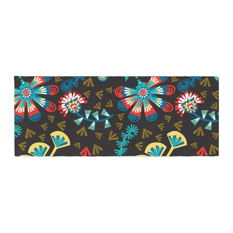 "Agnes Schugardt ""Wycinanka"" Black Abstract Bed Runner - KESS InHouse"