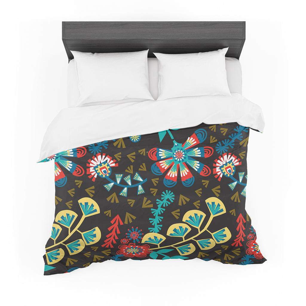 "Agnes Schugardt ""Wycinanka"" Black Abstract Featherweight Duvet Cover"