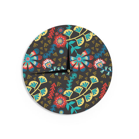 "Agnes Schugardt ""Wycinanka"" Black Abstract Wall Clock - KESS InHouse"