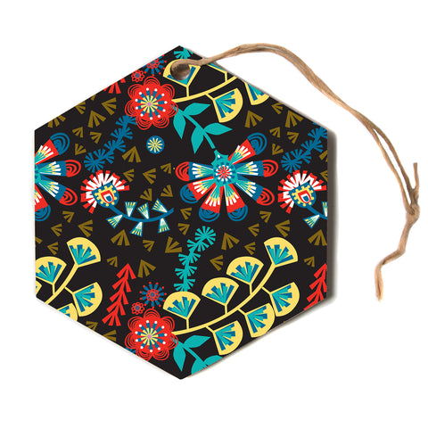 "Agnes Schugardt ""Wycinanka"" Black Abstract Hexagon Holiday Ornament"