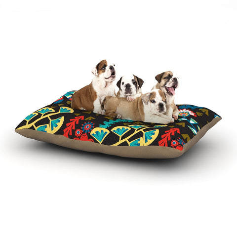 "Agnes Schugardt ""Wycinanka"" Black Abstract Dog Bed - KESS InHouse  - 1"