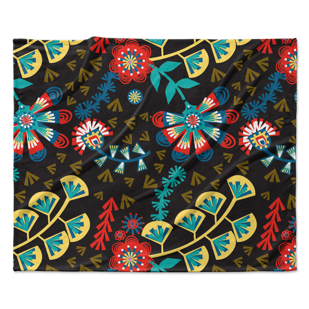 "Agnes Schugardt ""Wycinanka"" Black Abstract Fleece Throw Blanket"