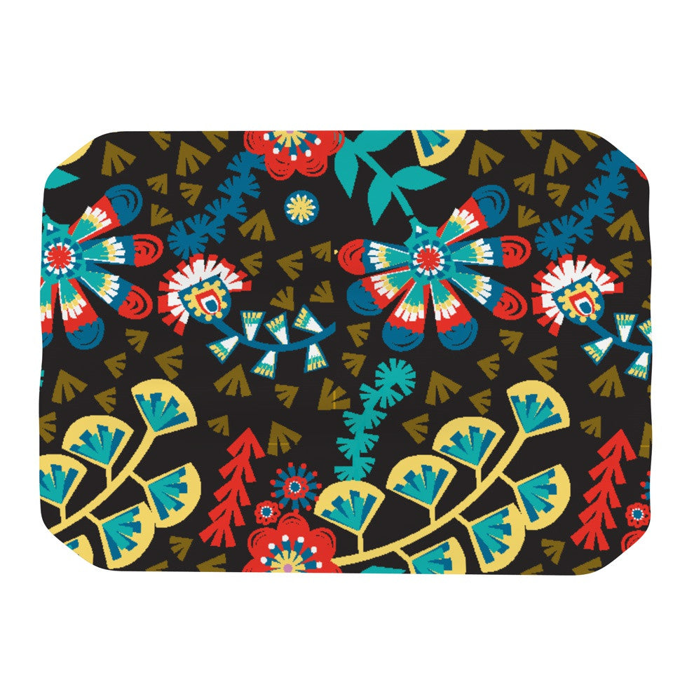 "Agnes Schugardt ""Wycinanka"" Black Abstract Place Mat - KESS InHouse"