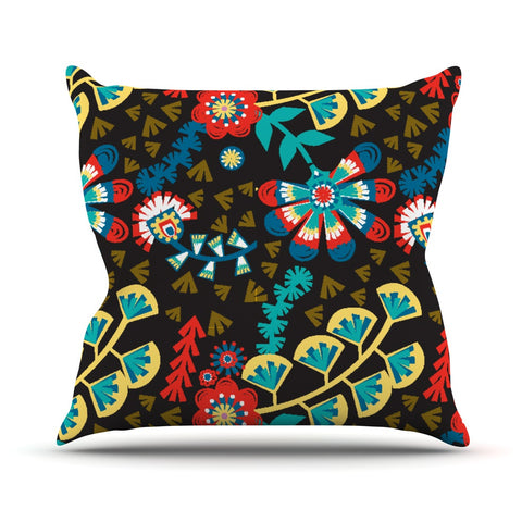 "Agnes Schugardt ""Wycinanka"" Black Abstract Outdoor Throw Pillow - KESS InHouse  - 1"