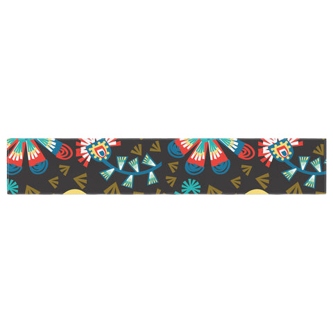 "Agnes Schugardt ""Wycinanka"" Black Abstract Table Runner - KESS InHouse  - 1"