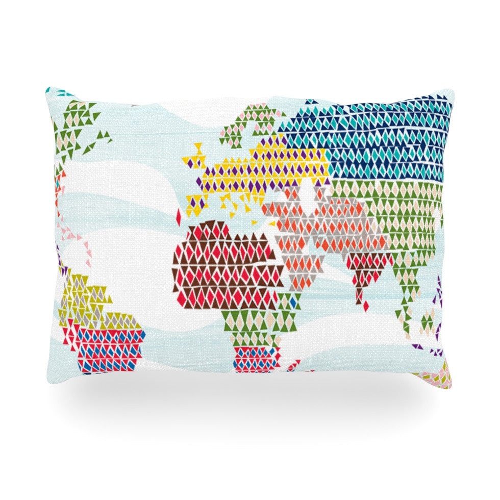 "Agnes Schugardt ""Geo Map"" Abstract Oblong Pillow - KESS InHouse"