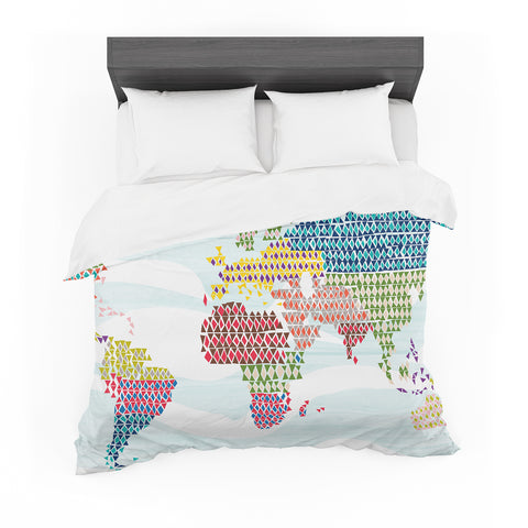"Agnes Schugardt ""Geo Map"" Abstract Featherweight Duvet Cover"