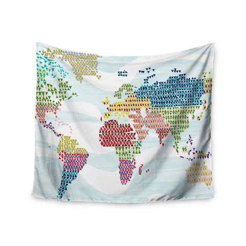 "Agnes Schugardt ""Geo Map"" Abstract Wall Tapestry - KESS InHouse  - 1"