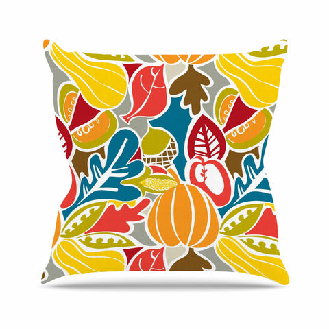 "Agnes Schugardt ""Fall Harvest"" Multicolor Food Outdoor Throw Pillow - KESS InHouse  - 1"