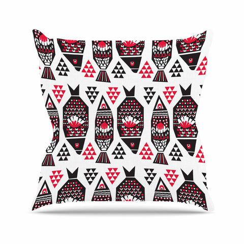 "Agnes Schugardt ""Folk Fish"" Animals Digital Outdoor Throw Pillow - KESS InHouse  - 1"