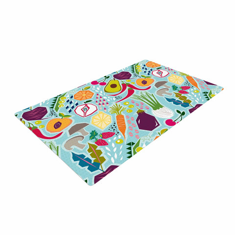 "Agnes Schugardt ""Garden Song"" Blue Food Woven Area Rug - Outlet Item"