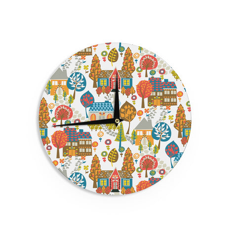 "Agnes Schugardt ""In The Village"" Vintage Multicolor Wall Clock - KESS InHouse"