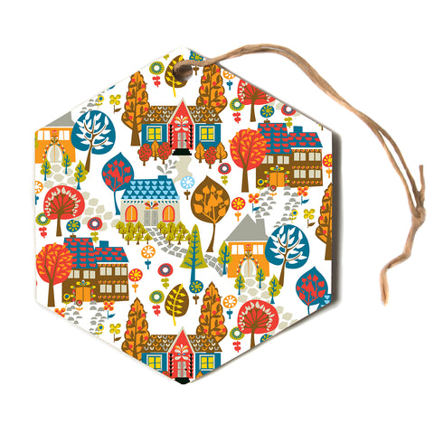 "Agnes Schugardt ""In The Village"" Vintage Multicolor Hexagon Holiday Ornament"