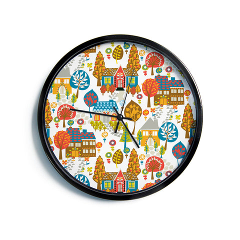 "Agnes Schugardt ""In The Village"" Vintage Multicolor Modern Wall Clock"