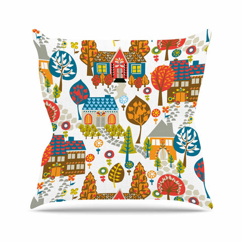 "Agnes Schugardt ""In The Village"" Vintage Multicolor Outdoor Throw Pillow - KESS InHouse  - 1"