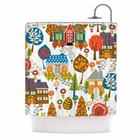 "Agnes Schugardt ""In The Village"" Vintage Multicolor Shower Curtain - KESS InHouse"