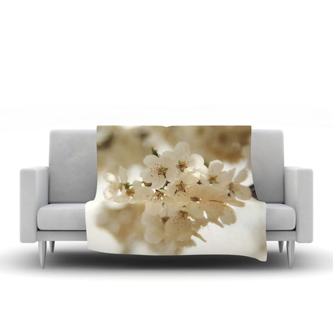 "Angie Turner ""Flowering Pear"" White Petals Fleece Throw Blanket"